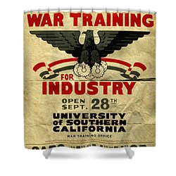 Classes In War Training For Industry - Vintage Poster Folded Shower Curtain