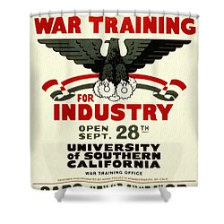 Classes In War Training For Industry - Vintage Poster Restored Shower Curtain