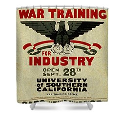 Classes In War Training For Industry - Vintage Poster Vintagelized Shower Curtain