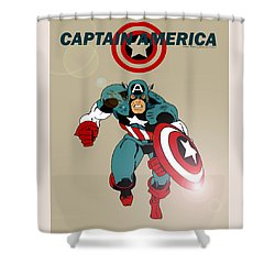 Classic Captain America Shower Curtain by Mista Perez Cartoon Art