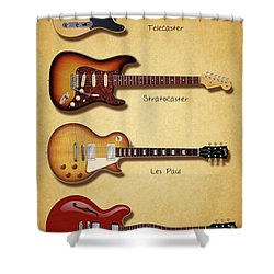 Classic Electric Guitars Shower Curtain