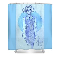 Shower Curtain featuring the drawing Classic Fitted Jumper by P J Lewis