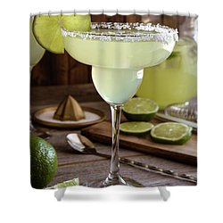 Shower Curtain featuring the photograph Classic Lime Margaritas On The Rocks by Teri Virbickis