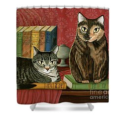 Classic Literary Cats Shower Curtain by Carrie Hawks