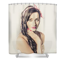 Shower Curtain featuring the photograph Classic Old Style Pin-up Girl by Jorgo Photography - Wall Art Gallery