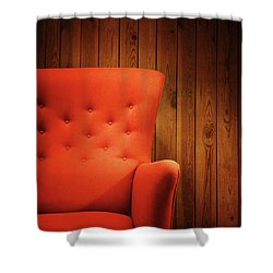 Classic Red Armchair Near A Wooden Wall Shower Curtain