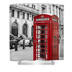 Red Telephone Box In London England Shower Curtain