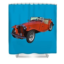 Classic Red Mg Tc Convertible British Sports Car Shower Curtain
