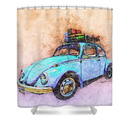 Classic Road Trip Ride Watercolour Sketch Shower Curtain