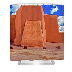 Classic View Of Ranchos Church As Oil Shower Curtain by Charles Muhle