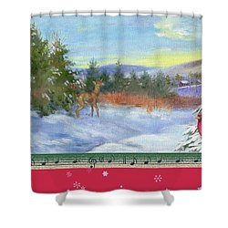 Classic Winterscape With Cardinal And Reindeer Shower Curtain