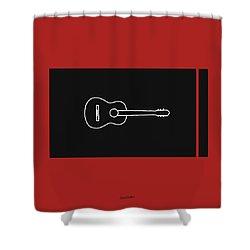 Classical Guitar In Orange Red Shower Curtain by David Bridburg