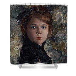 Shower Curtain featuring the painting Classical Portrait Of Young Girl In Victorian Dress by Karen Whitworth