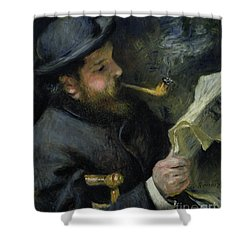 Claude Monet Reading A Newspaper Shower Curtain by Pierre Auguste Renoir