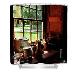 Shower Curtain featuring the photograph Clay Jars On Windowsill by Susan Savad