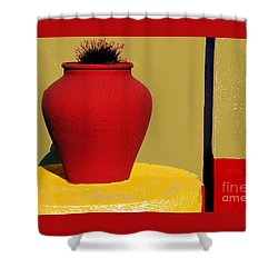 Clay Pot In Red Shower Curtain by Linda  Parker