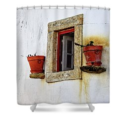 Shower Curtain featuring the photograph Clay Pots In A Portuguese Village by Marion McCristall