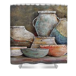 Shower Curtain featuring the painting Clay Pottery Still Lifes-a by Jean Plout