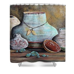 Shower Curtain featuring the painting Clay Pottery Still Lifes-b by Jean Plout