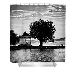 Claytor Lake Gazebo - Black And White Shower Curtain