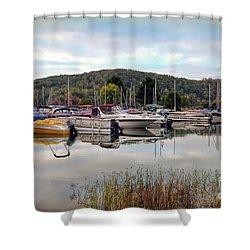Shower Curtain featuring the photograph Claytor Lake Marina by Kerri Farley