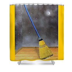 Cleaning Out The Universe Shower Curtain by Thomas Blood