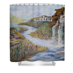 Shower Curtain featuring the painting Cleansing by Saundra Johnson