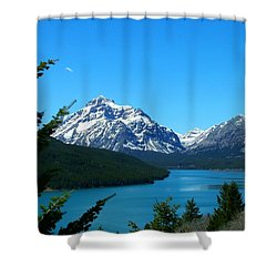 Clear Blue Lower Two Med Lake Shower Curtain