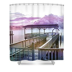 Clouds On Clear Lake Shower Curtain by Kathy Kelly