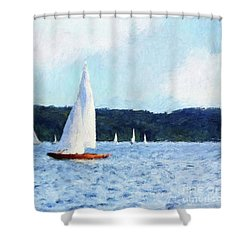 Clear Sailing Shower Curtain by Shirley Stalter