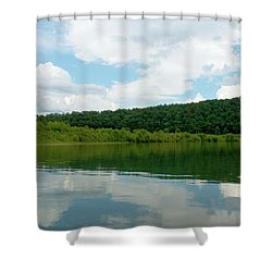 Clear Water - Clouds Reflect In The Water Shower Curtain by Jane Eleanor Nicholas