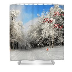 Clearing Skies Christmas Card Shower Curtain by Lois Bryan