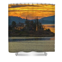 Clearlake Gold Shower Curtain by Mitch Shindelbower