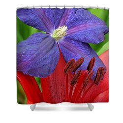 Shower Curtain featuring the photograph Clematis And Lily by Rebecca Overton
