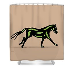 Clementine - Pop Art Horse - Black, Geenery, Hazelnut Shower Curtain