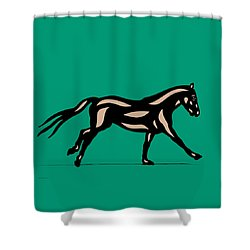 Clementine - Pop Art Horse - Black, Hazelnut, Emerald Shower Curtain