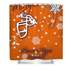 Clemson Tigers Christmas Card Shower Curtain