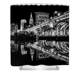 Cleveland After Dark Shower Curtain by Brent Durken
