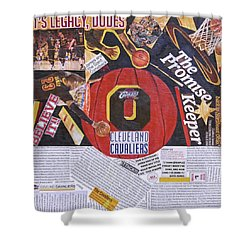 Shower Curtain featuring the painting Cleveland Cavaliers 2016 Champs by Colleen Taylor