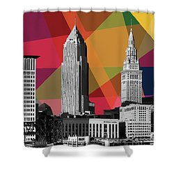 Shower Curtain featuring the mixed media Cleveland Geometric Skyline by Carla Bank