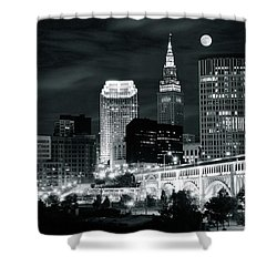 Cleveland Iconic Night Lights Shower Curtain by Frozen in Time Fine Art Photography