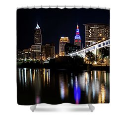 Shower Curtain featuring the photograph Cleveland In The World Series 2016 by Dale Kincaid
