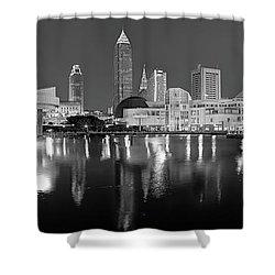 Cleveland Skyline At Dusk Black And White Shower Curtain