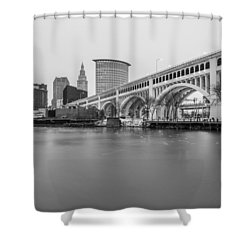Cleveland Skyline In Black And White  Shower Curtain