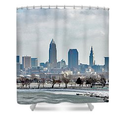 Cleveland Skyline In Winter Shower Curtain by Bruce Patrick Smith