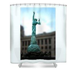 Shower Curtain featuring the photograph Cleveland War Memorial Fountain by Terri Harper