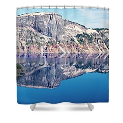 Shower Curtain featuring the photograph Cliff Rim Of Crater Lake by Frank Wilson