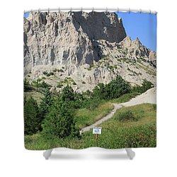 Cliff Shelf Trail In Badlands National Park South Dakota Shower Curtain by Louise Heusinkveld