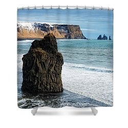 Shower Curtain featuring the photograph Cliffs And Ocean In Iceland Reynisfjara by Matthias Hauser