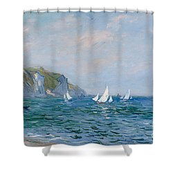 Cliffs And Sailboats At Pourville  Shower Curtain by Claude Monet